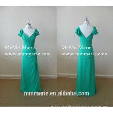 Modest Mint Green V Neck Abendkleid Open Back Prom Kleid Blütenblatt Hülse Brautjungfer Kleid