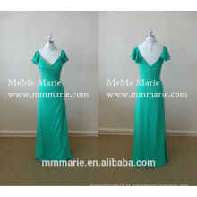 Modest Mint Green V Neck Vestido de noite Open Back Prom Dress Vestido de dama de honra pétala pétala