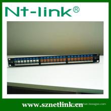 Разгруженная патч-панель 1U 24 порта с пылезащитной крышкой