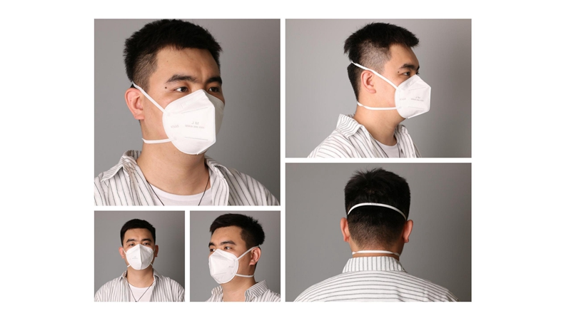 Head-mounted KN95 mask