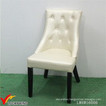 Beautiful Europe Antique Beige Wooden Chair Upholstery Leather