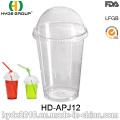 Copo descartável transparente do animal de estimação 12oz, copo descartável com tampa