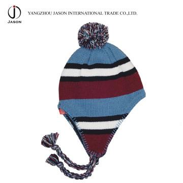 Sombrero hecho punto de acrílico Sombrero hecho punto de la gorra de la aleta del oído de Bobble del toque hecho punto caliente del sombrero de Toque