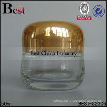 50г ясно овальный стеклянный опарник с крышкой золота, стеклянные опарникы сливк стороны, контейнера, баночки крема