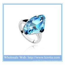 Mode personnalisée cristal autrichien 18K or lingot bijoux bule anneau de fiançailles en diamant