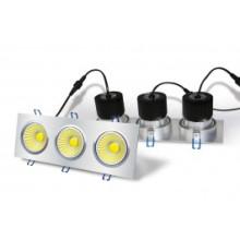 LED-Einbauleuchte - 3 x 6W COB - quadratisches Gehäuse