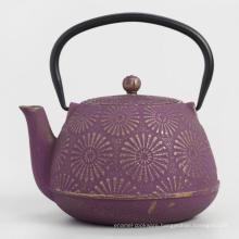 Cherry Blossom Pattern Enameled Cast Iron Teapot