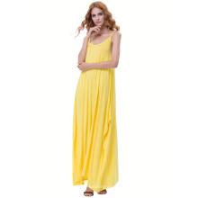 Kate Kasin Womens Casual suelta correa de espagueti amarillo Boho Harem vestido KK000712-2