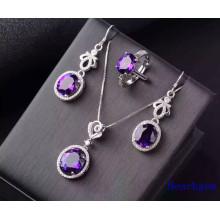 Fashion Jewellery Set with Amethyst Gemstones (S2638)