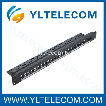 24Port Keystone Mount Patch Panel com Gerenciador de cabos