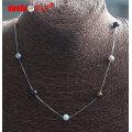 Мода ювелирные изделия 7мм круглый пресной воды жемчуг с серебряной цепочкой ожерелье (E130154)
