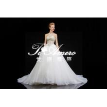 2015 nuevo producto de llegada A-line Appliques Appliques pesado vestido de boda de encaje de encaje
