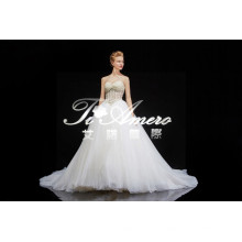 2015 New Arrival Product A-line Sweetheart Appliques Heavy Beaded Lace Wedding Dress