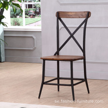 Industrial X Cross Back Metal Dining Chair
