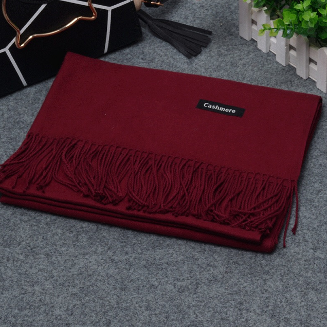 Womens Unisex Autumn Winter Tassels Solid Color Shawl Scarf Muffler