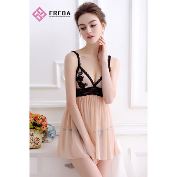 Pretty Nude Sexy Lace Flower Dress Babydoll