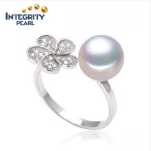 White Flower Shape Round Freshwater Pearl Ring 8-9mm Wholesale Real Pearl Ring