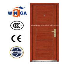Porta blindada de folheado de madeira MDF em aço inoxidável de mercado Ceeurop (W-A1)