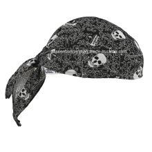 OEM Produce Customized Logo Impresso Algodão Promocional Crânio Doo Rag Biker Esportes Bandana Head Enrole Head Scarf