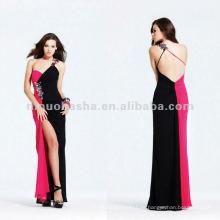 Color-Block ein Schulter seidig Chiffon Abendkleid