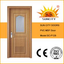 Interior de vidrio esmerilado Precio PVC puerta de baño con ventana (SC-P128)