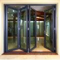 Aluminium exterior bi fold door with internal blinds