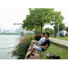 Pesca al aire libre Camping Alu plegable portátil silla ligera (con apoyabrazos de madera)