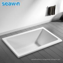 Seawin Wholesale 3 Side Single Tiling Flange Sunken Deep Soaking Bathtub Acrylic Drop In