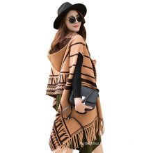 2017 New arrival winter plain long striped pattern women fake cashmere scarves poncho for women with tassel and cap