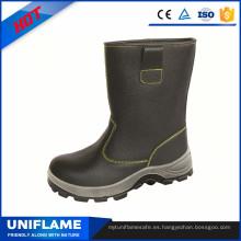 Zapatos de trabajo de cuero de la PU del dedo del pie de los hombres de cuero de corte alto Botas de seguridad