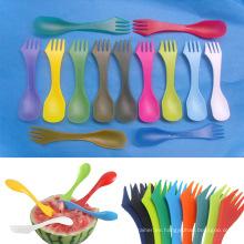 3 en 1plastic cubiertos con tenedor cuchara y cuchillo