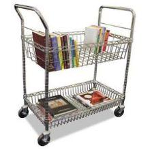 Carrito ajustable del libro del estante de la cesta del metal para la biblioteca (BK753590A2CW)
