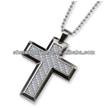 Novelty 2013 White Cross Carbon Fiber Pendant Manufacture