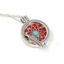 2018 fashion latest design feather turquoise essential oil diffuser necklace jewelry