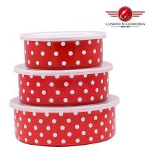 Ensemble de rangement de nourriture en émail à haute qualité 3PCS avec tampon PP