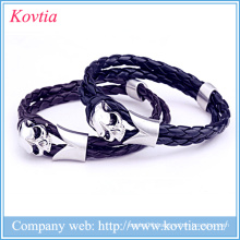 Titanium steel skull leather woven bracelet jewelry wholesale new products 2015