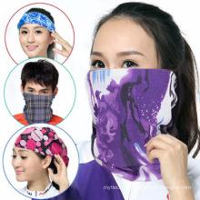 100% Polyester Microfiber Azo Free Multifunctional Seamless neck bandana Custom Logo Tube Fashion Scarf