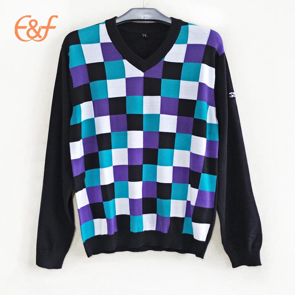 Lattice Design Men Plaid Checkeres Sweater