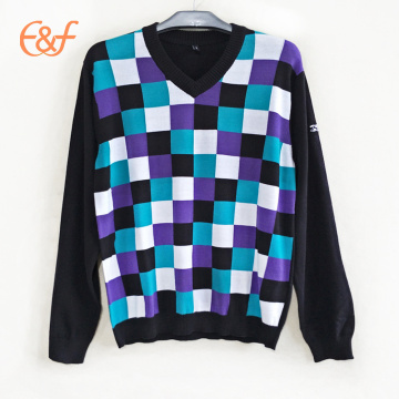 Lattice Design Plaid Checkeres Suéter Intarsia