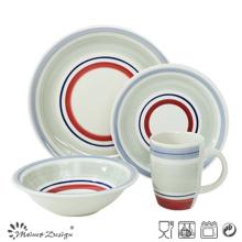 20PCS Ceramic Dinner Set Hand Painted Color Circles