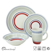 Ensemble de vaisselle en céramique 20PCS peint à la main avec des cercles colorés