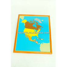 Montessori Material Toys - Amérique du Nord Puzzle Map With Beechwood FRAME