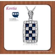 Collier à chaîne en argent à la vente chaude Collier pendentif en cristal bleu carré bleu pierres semi-précieuses