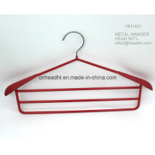 Hh Hm1401 Wholesale Plastic Plated Metal Coat Hanger with 3PCS Metal Hanging Bar