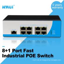 Fonte de alimentação IP40 proteção de conexão reversa 100 M ao ar livre 9 portas industrial interruptor PoE