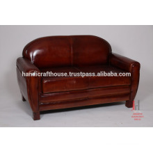 Dark Antique Leather Double Seater Leather Sofa