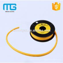 1,5 mm2 manguito de cable de marcador de cable amarillo con material de PVC, disponible en varios colores, aprobación CE