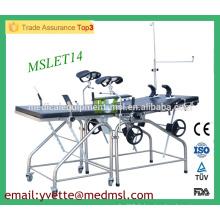 MSLET14M Meilleur prix Lit de livraison en acier inoxydable Lit de livraison réglable à l'hôpital