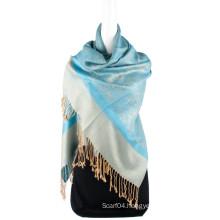 Fashion Reversible colors turkish pashmina shawl Paisley Jaquard
