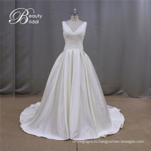Простые рябить Gridal платья Трапеция пятно, свадебное платье